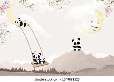 cute pandas playing kids room wallpaper design