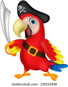 Cute parrot pirate cartoon