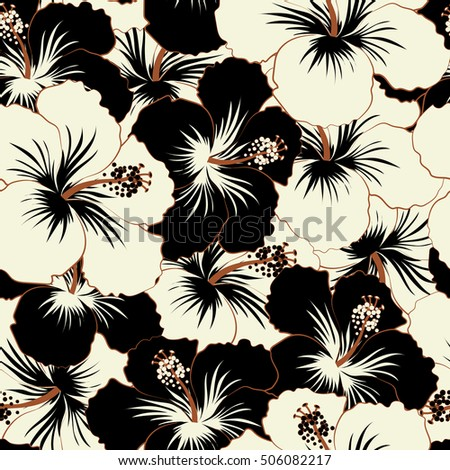 Cute Pattern Black White Hibiscus Flowers Stock Illustration
