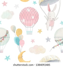 Cute pattern for a girl, a white hare with a parachute, a balloon, a starry sky, the moon and clouds. Air balloons