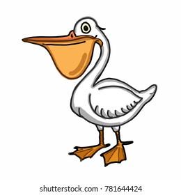 cute pelican  cartoon illustration drawing