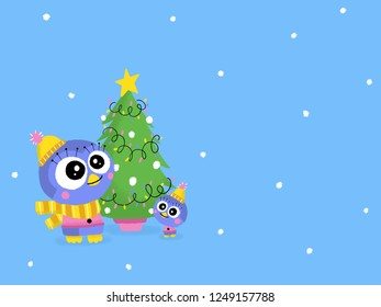 Cute penguin family with a Christmas tree. Children book character illustrated on a winter snowing background with free space for your decoration. Merry Christmas and Happy New Year.