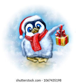 The cute penguin from the north pole with a golden gift box. The illustration features cartoon character in a Santa hat with a red scarf. Perfect for Seasons Greetings, Birthday and Holiday Cards.