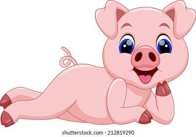 cute pig cartoon  relax while sleeping
