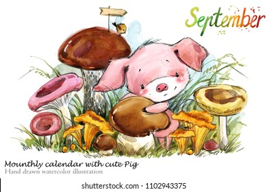Cute pig hand drawn watercolor illustration. Mounthly calendar with piglet. September