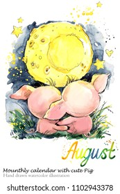 Cute pig hand drawn watercolor illustration. Mounthly calendar with piglet. August
