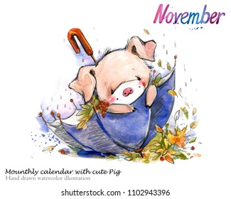 Cute pig hand drawn watercolor illustration. Mounthly calendar with piglet. November