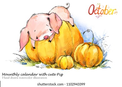 Cute pig hand drawn watercolor illustration. Mounthly calendar with piglet. October