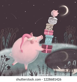 Cute pig and her little piggy are trying to reach the Moon