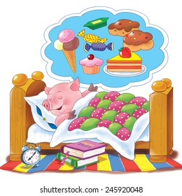 A cute pig sleeping in its bed, watching sweet dreams. Illustration for children, best for greeting card. White background