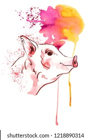 Cute pig in watercolour spots. New year 2019 banner. Symbol zodiac sign. Watercolor piglet illustration.