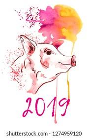 Cute pig in watercolour spots. New year 2019 banner. Symbol zodiac sign. Portrait of farm animals profile. Watercolor piglet illustration.