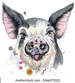 Cute piggy. Pig for T-shirt graphics. Watercolor pig in black spots illustration