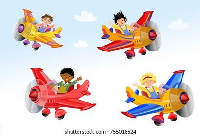 Cute pilot flying