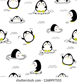 Cute pinguin pattern with white background. Seamless pattern.