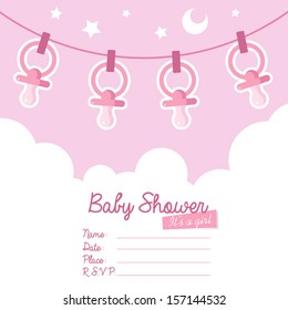 Cute pink baby shower invitation card for girls with pacifiers