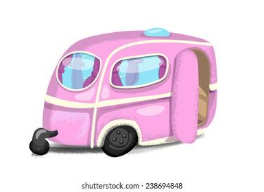 A Cute pink caravan.