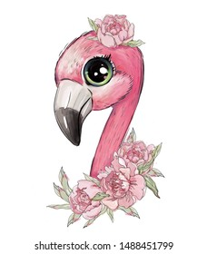 cute pink flamingo in flowers on a white background, cute animal, tropical bird Children's illustration for clothing design. An animated print.