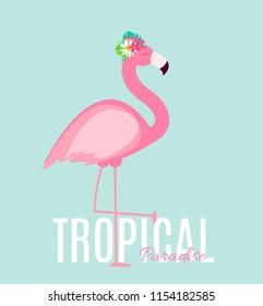 Cute Pink Flamingo Summer Background  Illustration