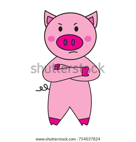 cute pink pig cartoon angry character stock illustration 754037824