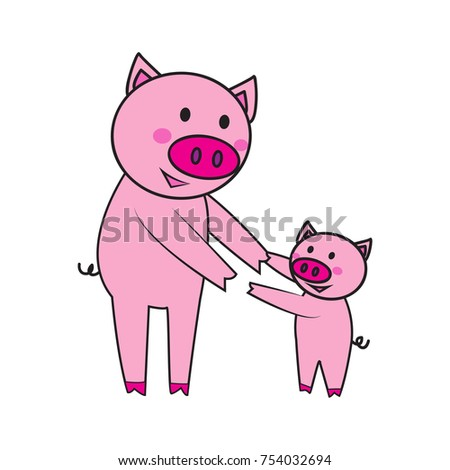 cute pink pig cartoon character on stock illustration 754032694