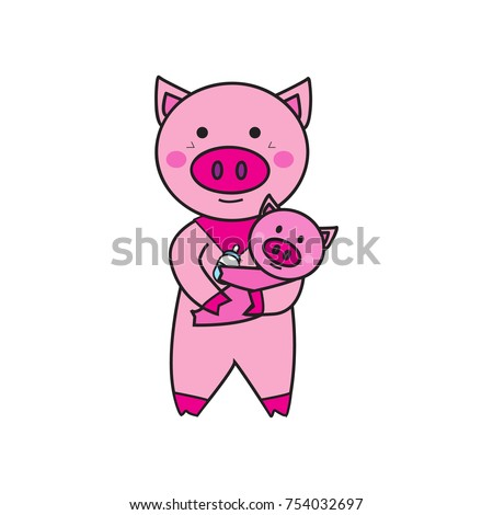 cute pink pig cartoon character on stock illustration 754032697
