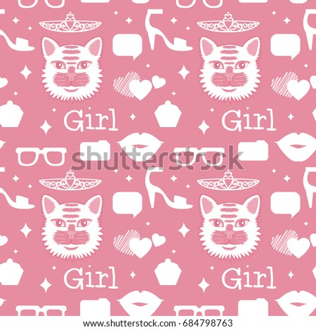 f9cbd27bcb6 Cute Pink Seamless Pattern Cats Lips Stock Illustration 684798763 ...