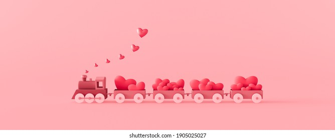 Cute pink train and wagons filled with red hearts. Valentine's day concept on pink background 3d render 3d illustration