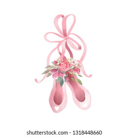 Cute pink watercolor ballet shoes with tied bow and rose
