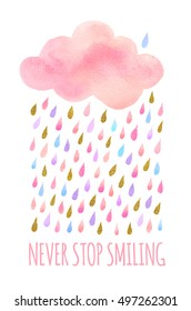 Cute pink watercolor cloud with rain. Set of watercolor objects isolated on white background for your design: textile, fabric, postcard, invitation.