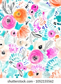 Cute, Pink Watercolor Flowers Background Pattern