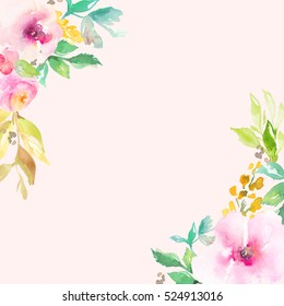 Cute, Pink Watercolor Flowers Corner Frame Background