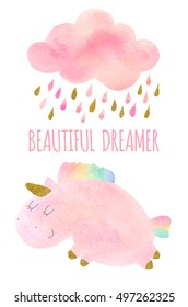 Cute pink watercolor unicorn and cloud with rain and rainbow. Set of watercolor objects isolated on white background for your design: textile, fabric, postcard, invitation.