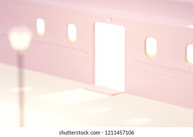 Cute pink and white cartoon subway.3d rendering commuter theme concept.