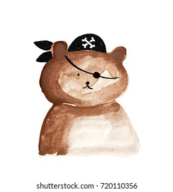cute pirate teddy bear illustration. Cartoon ink character design for kids