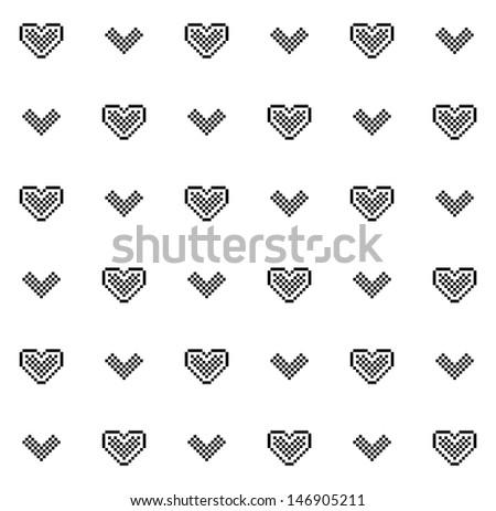 cute pixel hearts black white seamless stock illustration 146905211