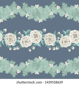 Cute plant border. Floral piece of garment print. Flower design for wallpapers, print, gift wrap and scrapbooking.