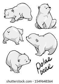 Cute polar bear. Hand drawn vector design. Cartoon illustration.