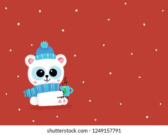 Cute polar bear with scarf and hat holding a cup. Children book character illustrated on a winter snowing background with free space for your decoration. Merry Christmas and Happy New Year.