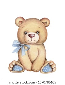 Cute pretty little toy animal teddy bear, sitting. Hand drawn watercolor illustration, isolated.