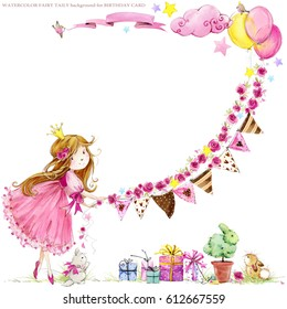 cute princess. Birthday background. greeting card for kids. watercolor illustration.