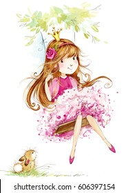 cute princess. little girl watercolor illustration