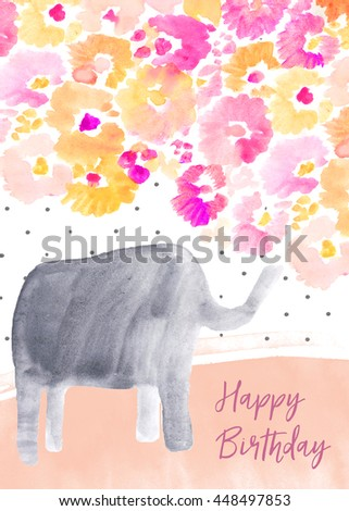 Cute Printable Birthday Card With Elephant And Flowers