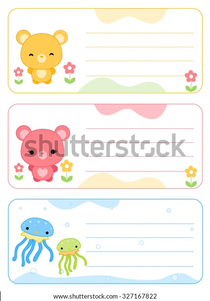 Cute Printable Name Tags Name Cards Stock Illustration 327167822