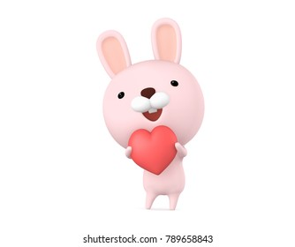 Cute Rabbit character having a big heart shape for Valentine's Day celebration concept, 3D illustration