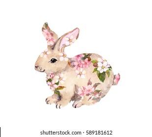 Cute rabbit in flowers. Watercolor