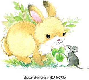 Cute Rabbit. watercolor animal illustration.