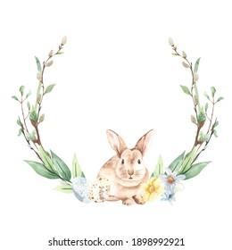 Cute rabbit, willows, spring greens, flowers, quail eggs. Watercolor easter wreath