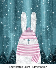 Cute rabbit. Winter greeting card