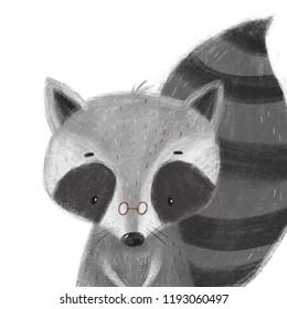 Cute raccoon illustration. Cartoon character raccoon.